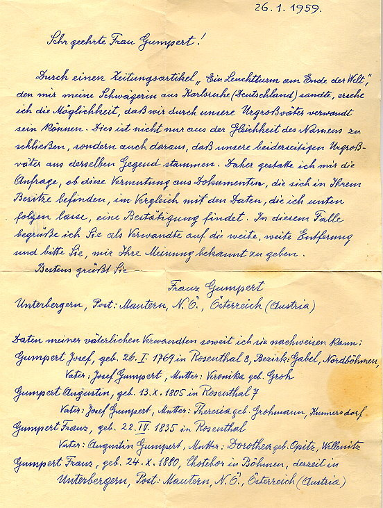 Carta de Franz Gumpert familiar de Mautern (Austria)